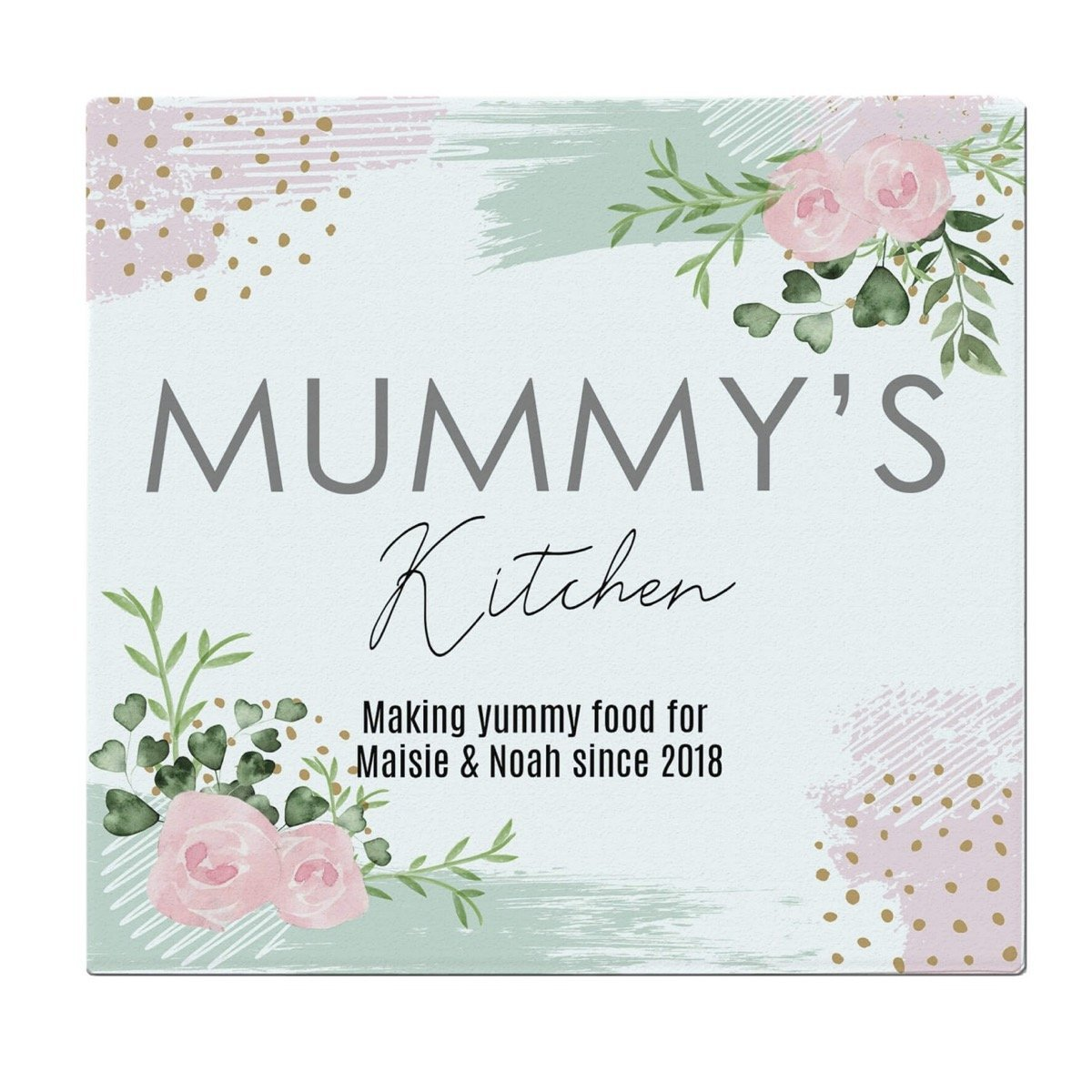 Personalised Abstract Rose Glass Chopping Board/Worktop Saver