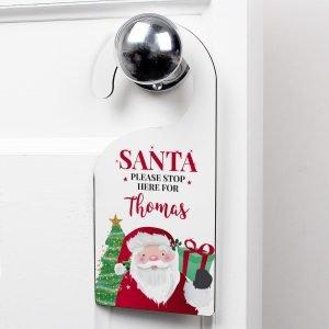Personalised Santa Stop Here Door Hanger