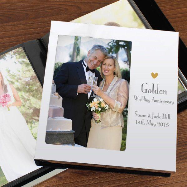 Personalised Decorative Golden Anniversary Photo Frame Album 6×4