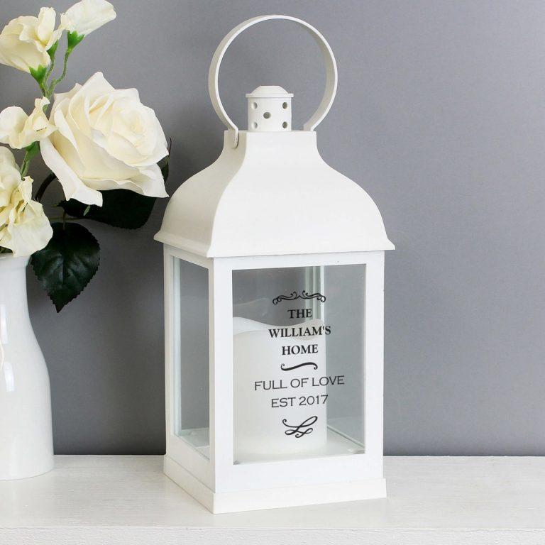 Personalised Antique Scroll White Lantern