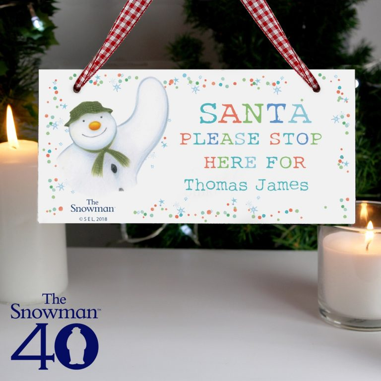 Personalised The Snowman Let it Snow Santa Stop Here Wooden Sign