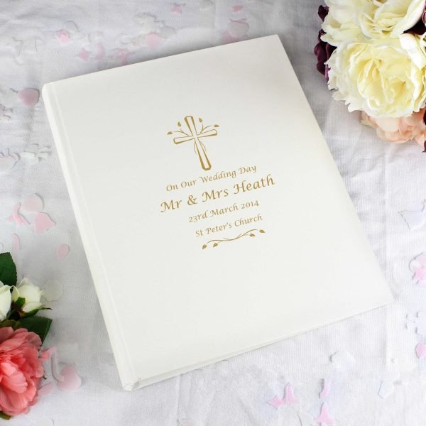 Personalised Gold Cross Traditional Album
