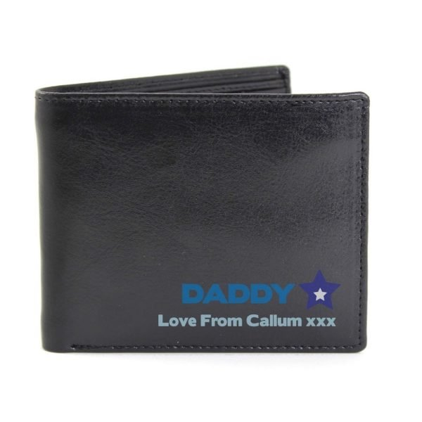 Personalised Blue Worlds Best Dad Leather Wallet