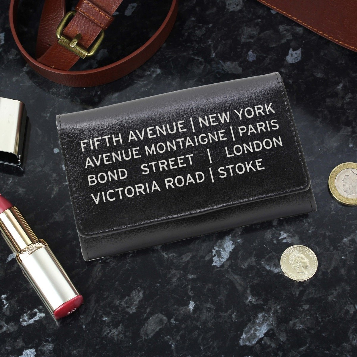 Personalised Shopping Destination Black Leather Purse