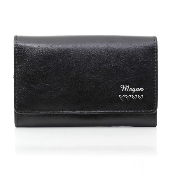 Personalised Name & Hearts Black Leather Purse