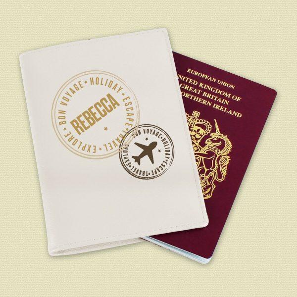 Personalised Stamped Cream Passport Holder