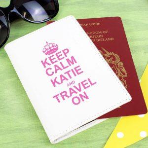 Personalised Keep Calm Cream Passport Holder