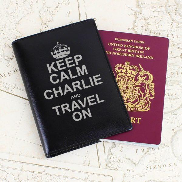 Personalised Keep Calm Black Passport Holder