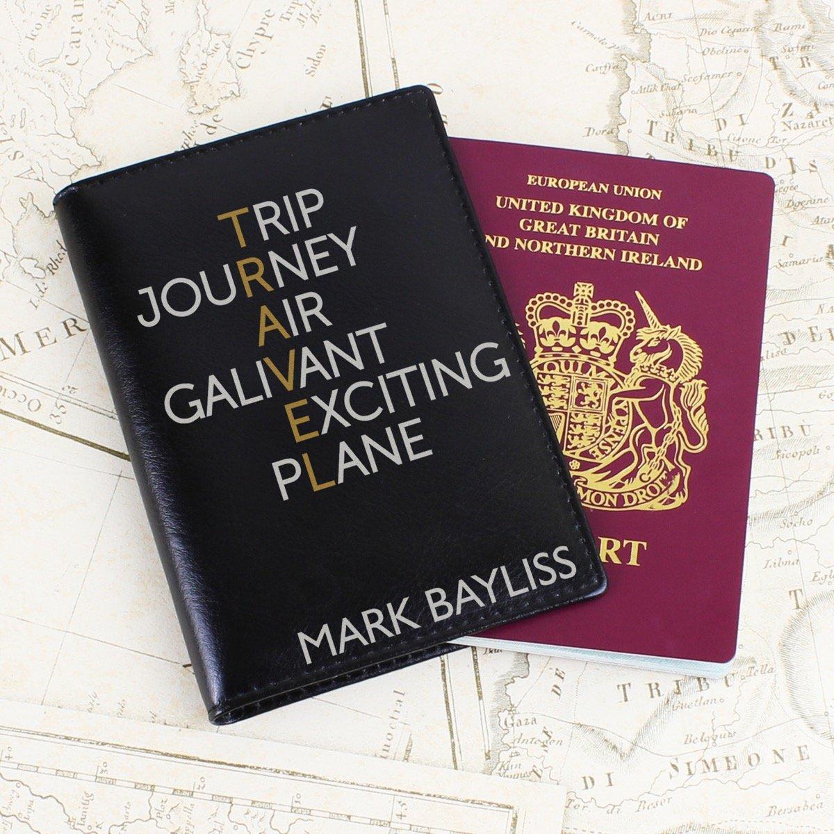 Personalised Travel Black Passport Holder