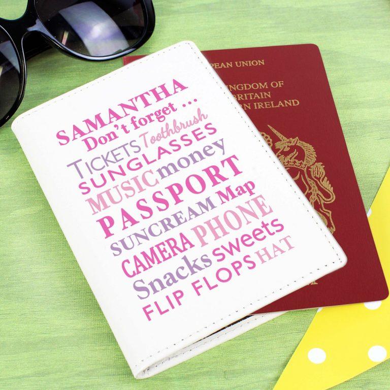 Personalised Don't Forget Cream Passport Holder