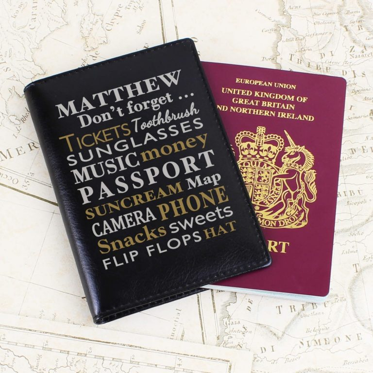 Personalised Don't Forget… Black Passport Holder