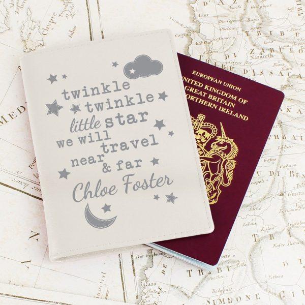 Personalised Twinkle Twinkle Cream Passport Holder