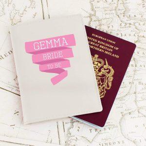 Personalised Pink Banner Cream Passport Holder