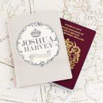 Personalised Royal Crown Cream Passport Holder