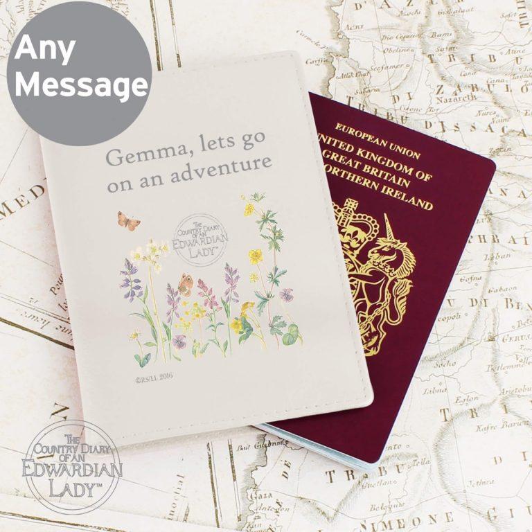 Personalised Country Diary Wild Flowers Cream Passport Holder