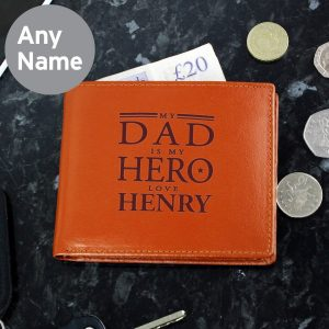 Personalised My Dad is My Hero Tan Leather Wallet