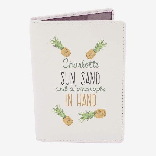 Personalised Pineapple Cream Passport Holder