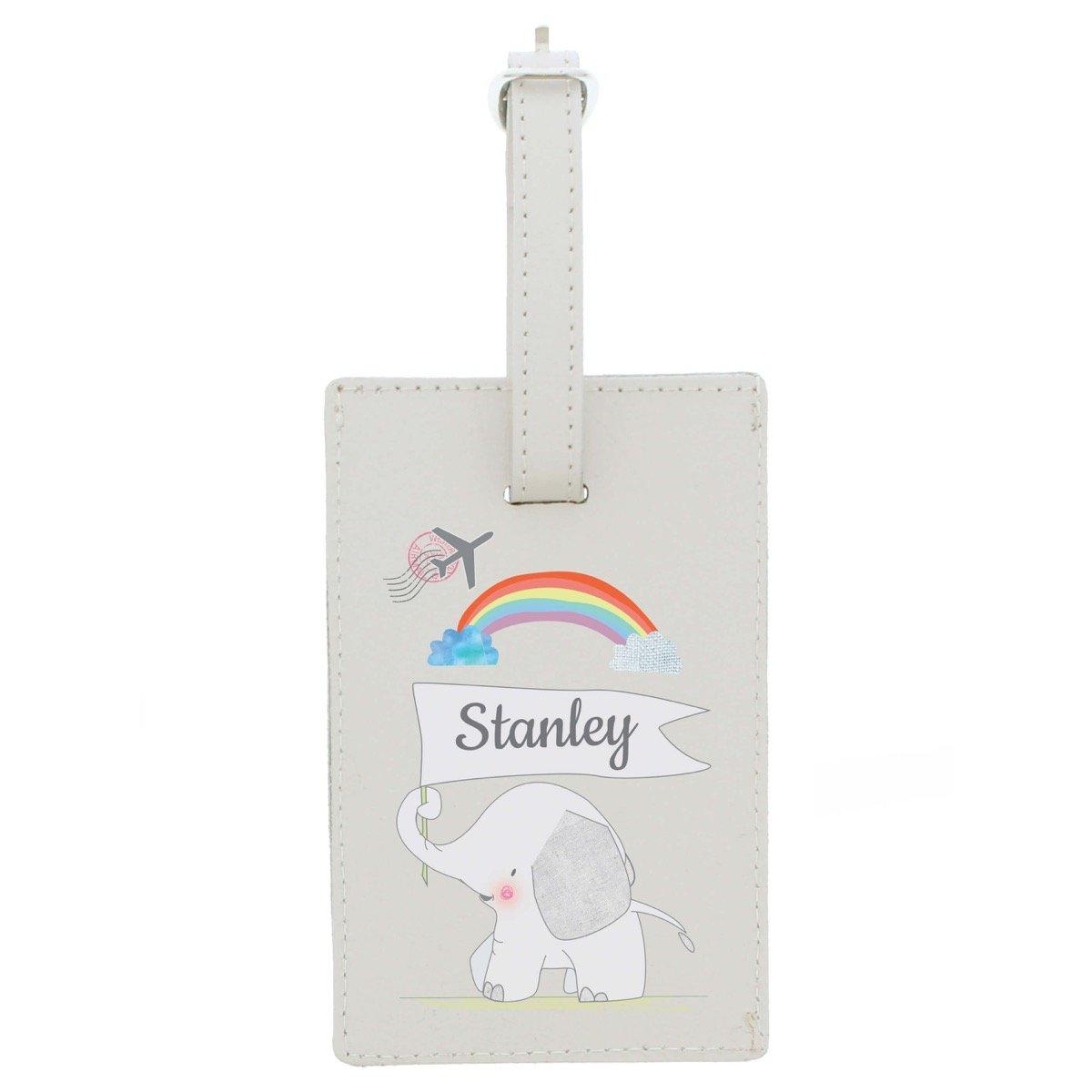 Personalised Hessian Elephant Cream Luggage Tag