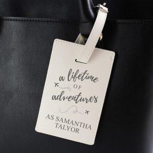 Personalised 'Lifetime of Adventures' Cream Luggage Tag