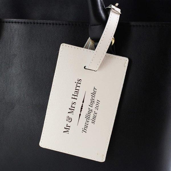 Personalised Classic Cream Luggage Tag