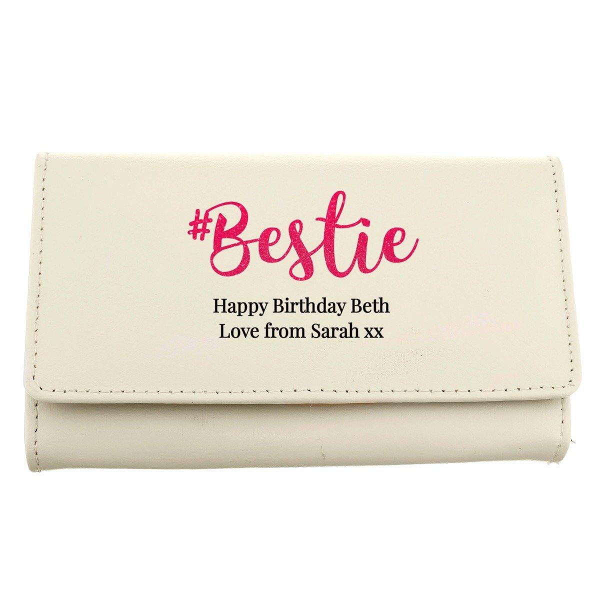 Personalised #Bestie Cream Purse