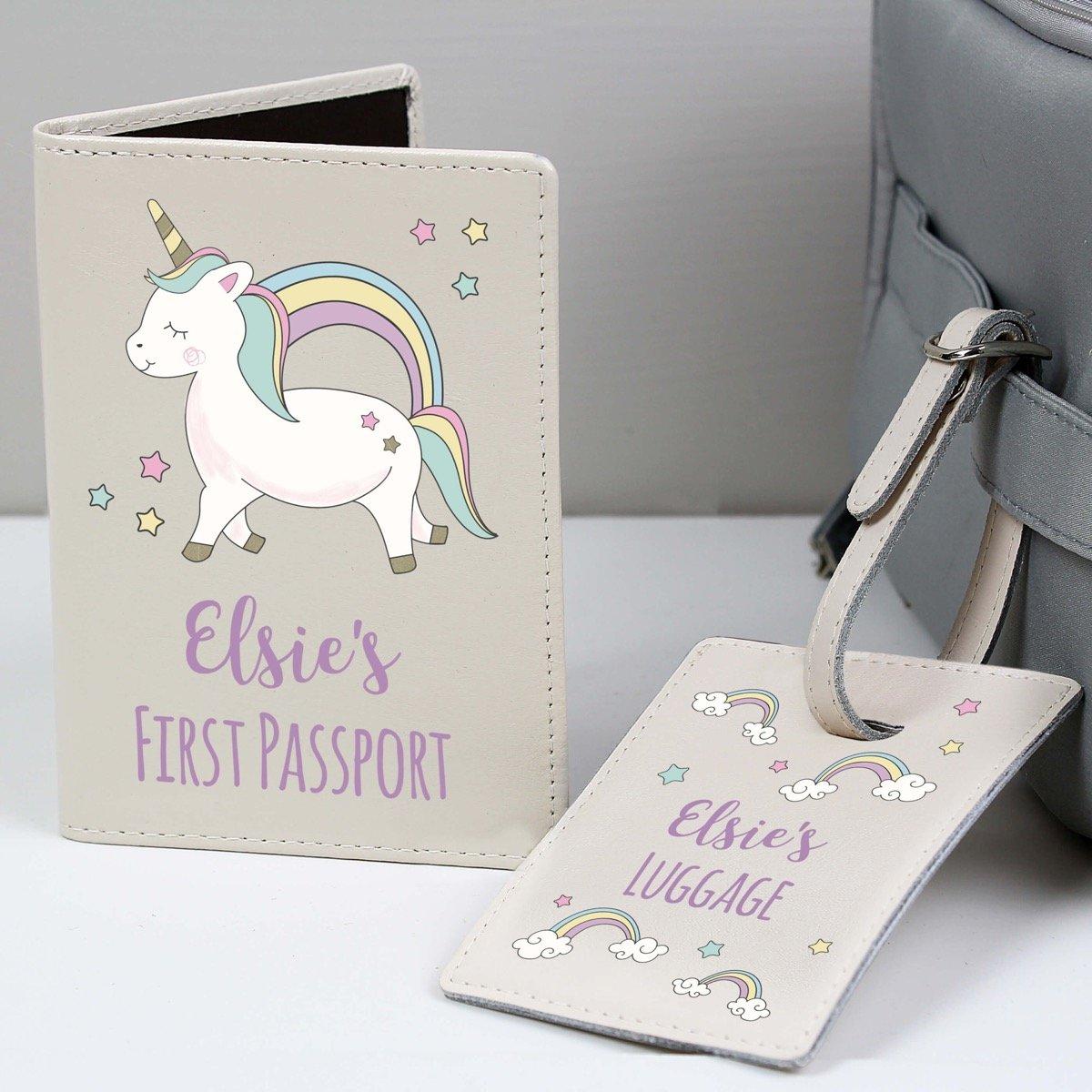 Personalised Baby Unicorn Cream Passport Holder & Luggage Tag Set