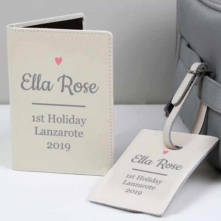 Personalised Pink Heart Cream Passport Holder & Luggage Tag Set