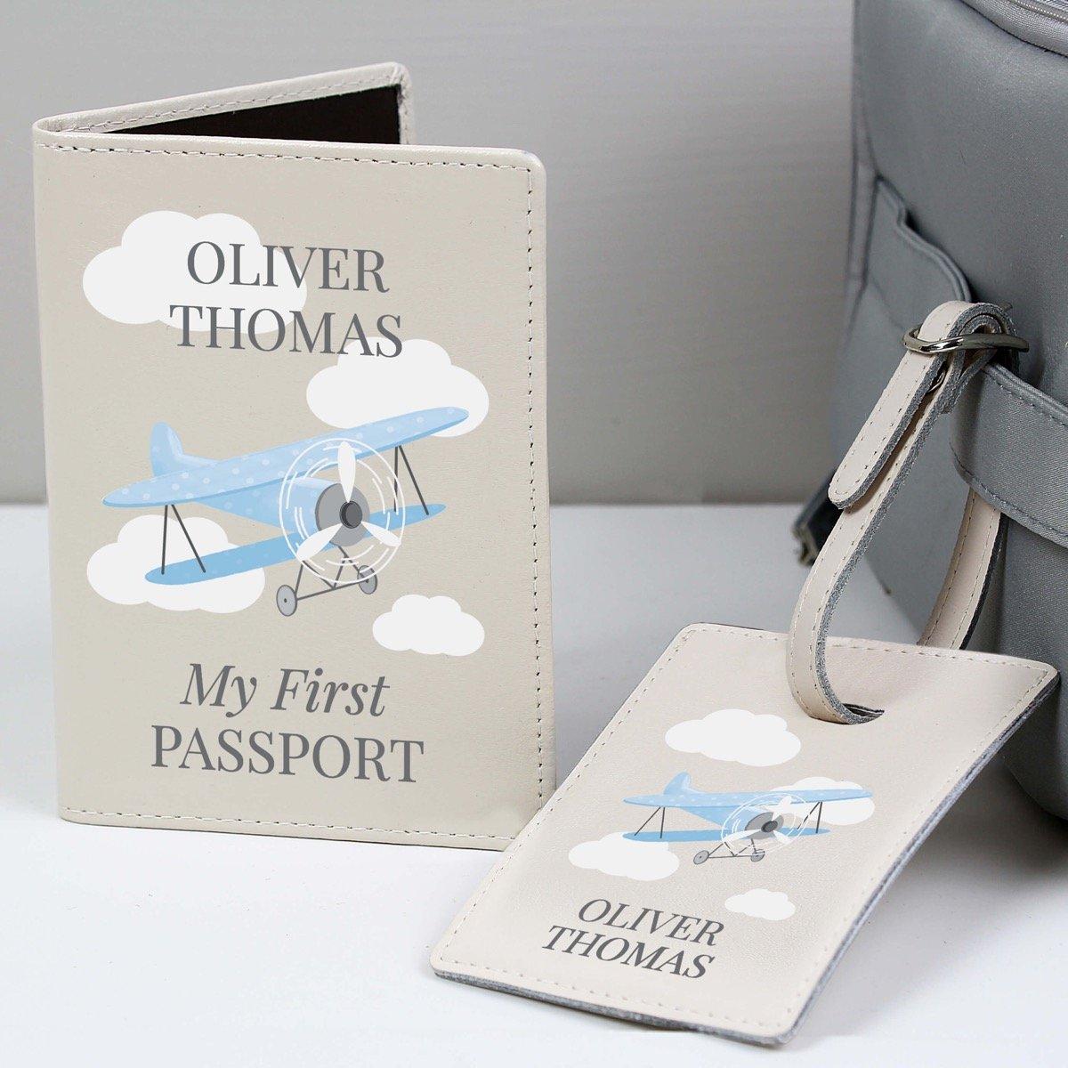 Personalised Blue Plane Passport Holder & Luggage Tag Set