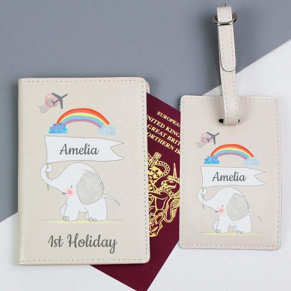 Personalised My 1st Cream Passport Holder & Luggage Tag Set