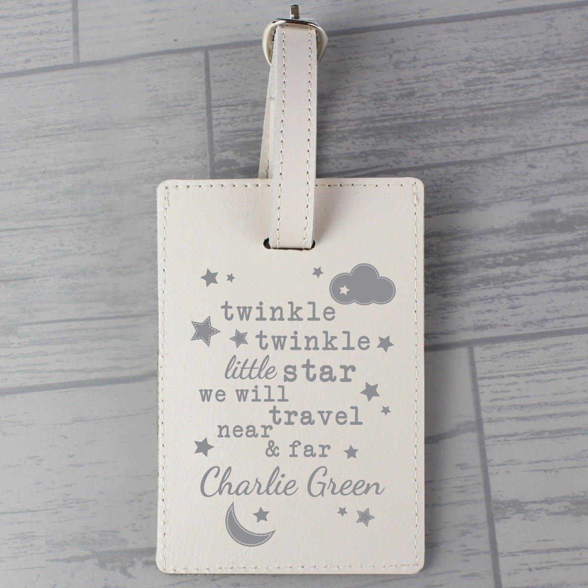 Personalised Twinkle Twinkle Cream Luggage Tag