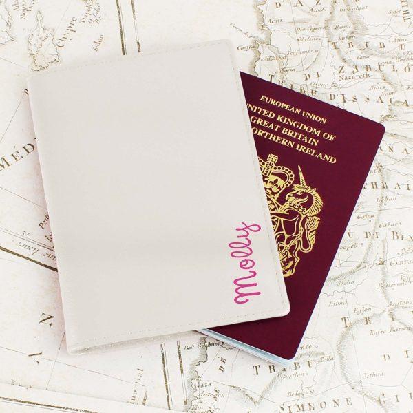 Personalised Pink Name Island Cream Passport Holder