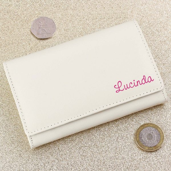 Personalised Pink Name Cream Leather Purse