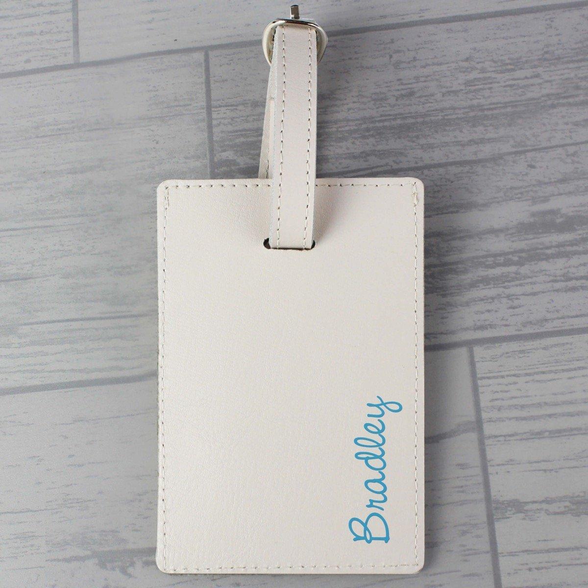 Personalised Blue Name Cream Luggage Tag