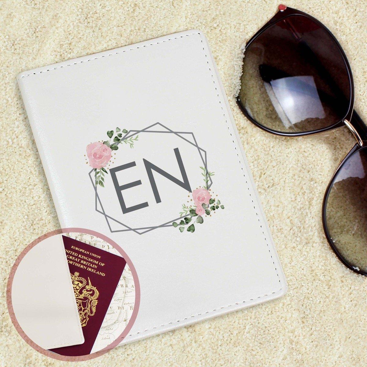 Personalised Floral Cream Passport Holder