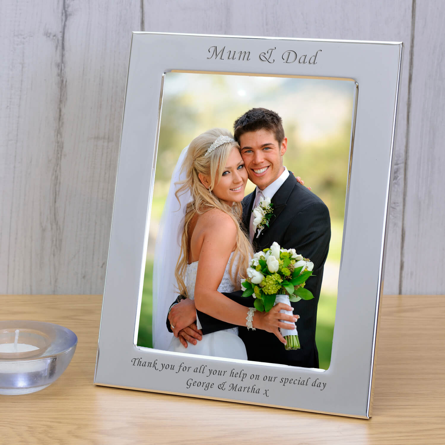Personalised Silver Plated Photo Frame – Mum & Dad