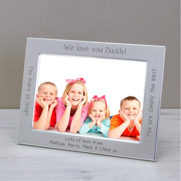 Personalised Silver Plated Photo Frame – I/We Love You Daddy
