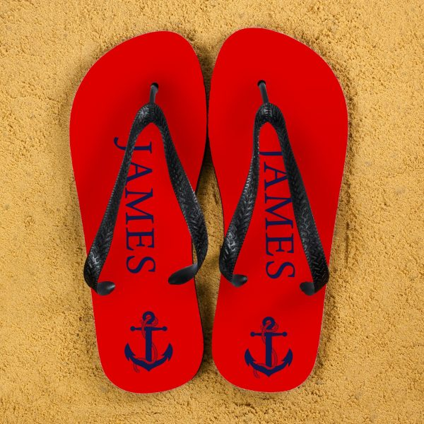 Personalised Adults Flip Flops (Red & Blue) – Anchors