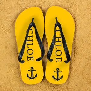 Personalised Adults Flip Flops (Yellow & Blue) – Anchors
