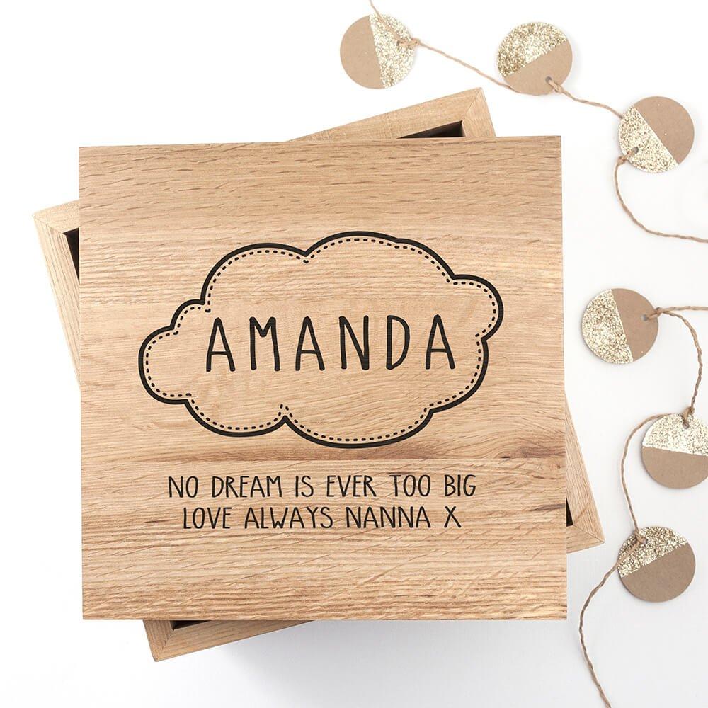 Personalised Oak Photo Keepsake Box – Baby Name in Cloud