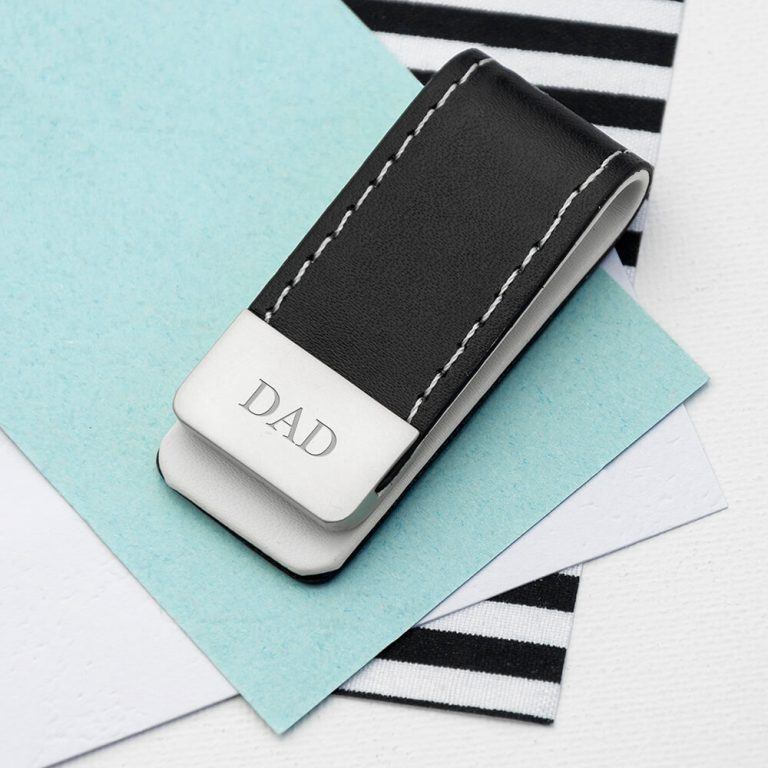 Personalised Black Leather Money Clip – Initials