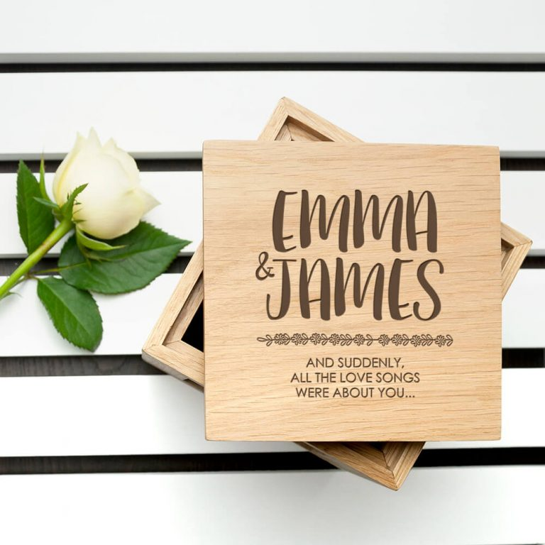Personalised Oak Photo Cube – All About You