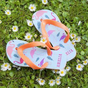 Personalised Kids Flip Flops – Flamingos