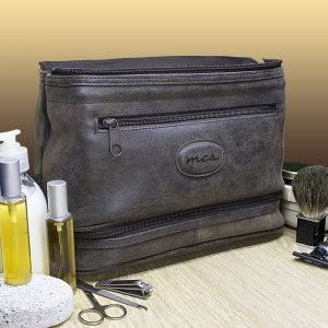 Personalised Mens Expandable Suede Wash Bag