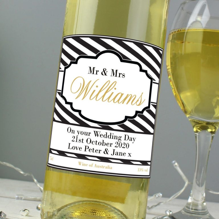Personalised Art Deco Striped White Wine