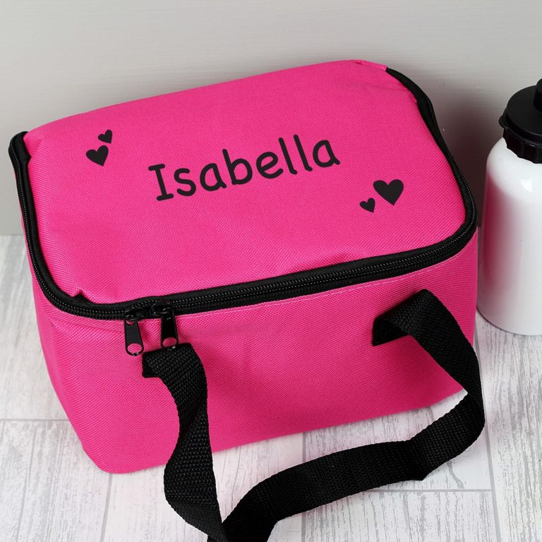 Personalised Black Hearts Pink Lunch Bag
