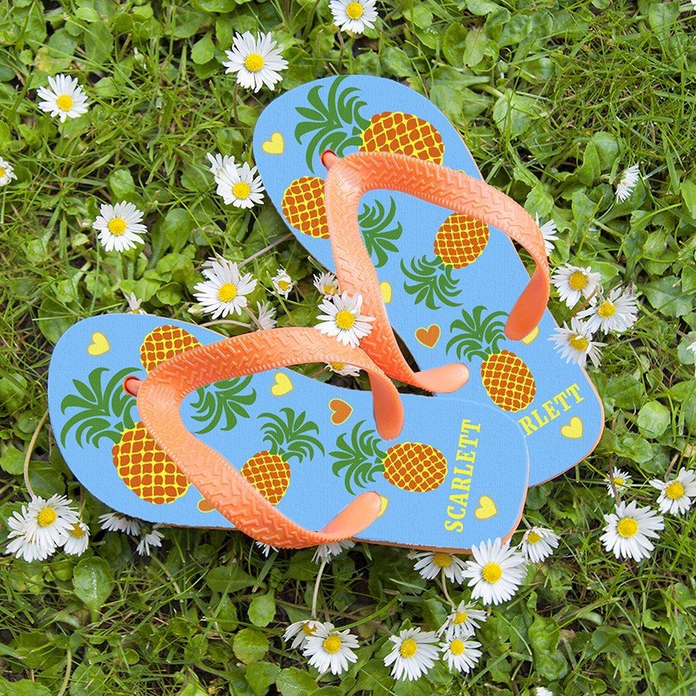 Personalised Kids Flip Flops – Pineapple