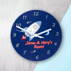Personalised Wall Clock – Rocket to the Moon
