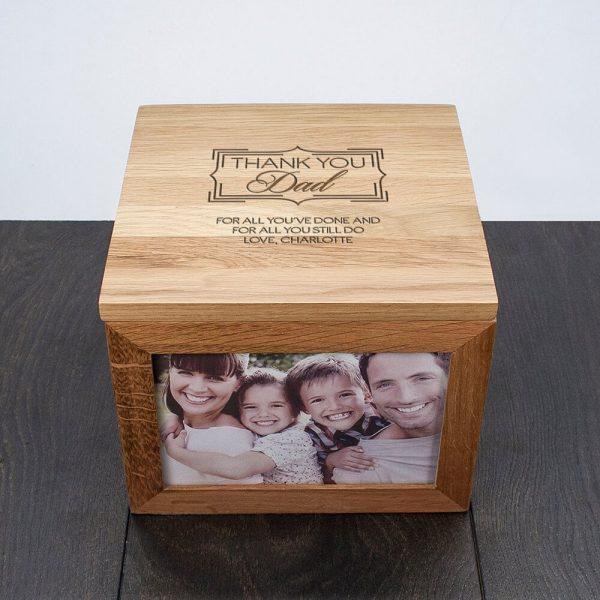 Personalised Oak Photo Keepsake Box – Thank You