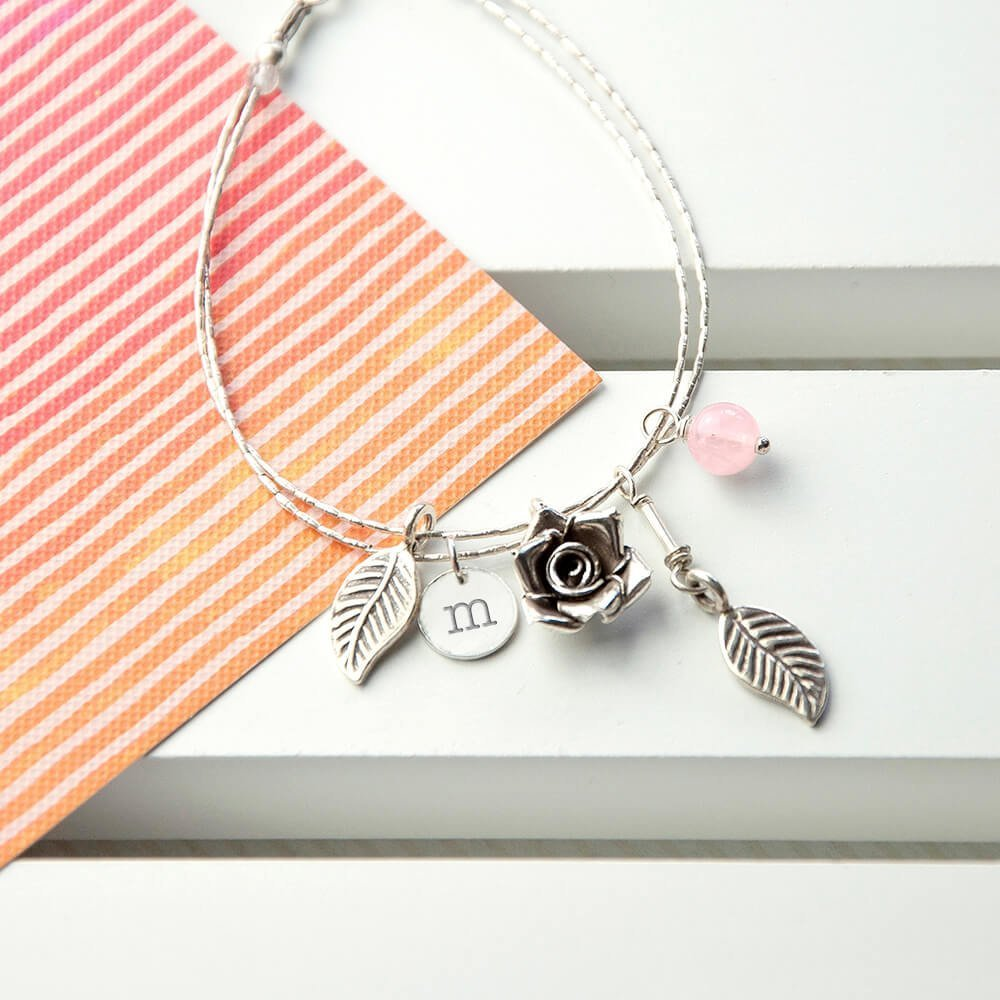 Personalised Bracelet with Indian Ruby Stones – Initial(s)