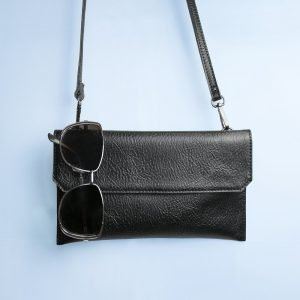 Personalised Black Leather Clutch Bag – Your Message